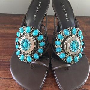 Colin Stuart beaded turquoise sandals